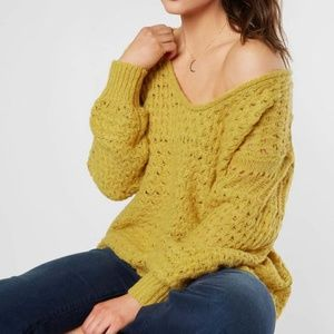 Free People Crashing Waves Pullover Yellow Sweater